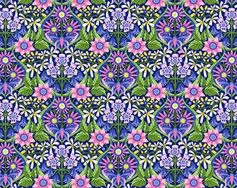 Jane Sassaman Queen of the May Indigo Spring Fever fabric