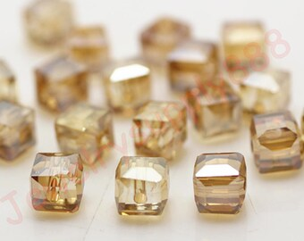Champagne AB Color 42 Square Cube Crystal Beads,Loose Jewelry cube Beads ,Square crystal beads Size 2mm 3mm 4mm 6mm 8mm 50 Colors U Pick