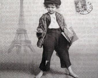 Paper Napkins for Decoupage, Newspaper boy, Paris, France, Set of 3 paper napkins, 33x33 cm (no.23)