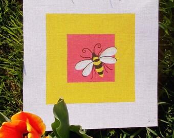Bizi Bumble Bee Needlepoint 7 x7  Square - Jody Designs  SB1