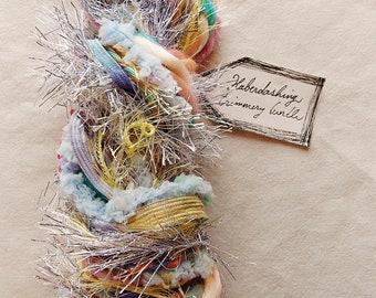 Pixie Dust pastel ribbon silver tinsel striped puffy twine Novelty Fiber Yarn Sampler Bundle
