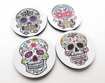 Sugar Skull Drink Coasters mug rugs mat Day of the Dead halloween dia de los muertos party favor wedding shower gift home decor till death