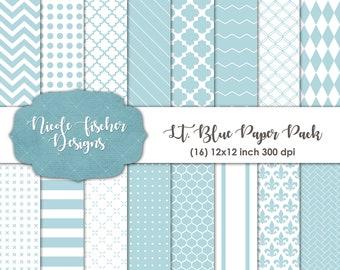 Light Blue Patterned Paper Pack -INSTANT DOWNLOAD