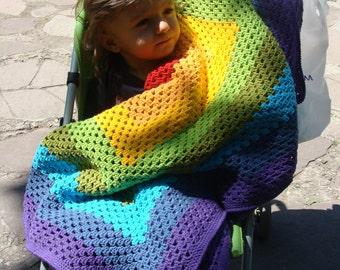 Rainbow Kid Crochet Blanket. Granny Square Afghan. Baby Stroller Throw. Yellow Purple Red Blue Green Orange. Newborn Gift by dodofit on Etsy