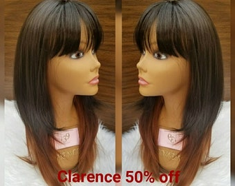 Brown wig with bangs 3 tone