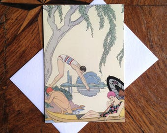 A Summer's Day.  Stunning Art Deco Greeting Card with Georges Barbier Illustration.