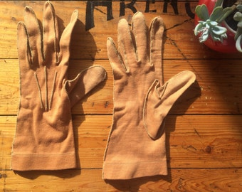 Camel Cotton Driving Gloves 1960s 50s