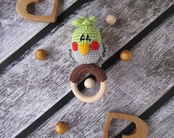 Baby rattle toy parrot crochet bird on wooden ring