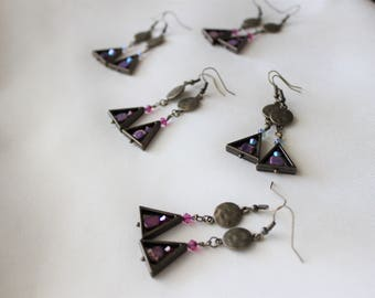 Antiqued Iron and Brass w/ Stone Earrings