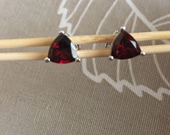 Trillion cut garnet stud earrings, Natural stones, Solid silver