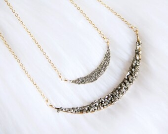 Pyrite Crescent Necklace, Large Collar Necklace