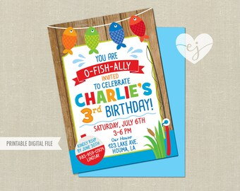Fishing Birthday Invitation, The Big One Fishing Invitation, Fishing Invitation, Fishing First Birthday Invitation, Fishing Birthday Invite