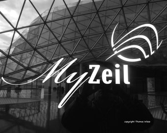 Photography black and white, logo myZeil on the Zeil in Frankfurt am Main, high gloss, premium paper, signed