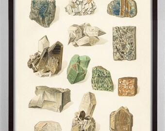 Southwest Mineral Print, Antique Rock Art Print, Rock Print, Mineral Art, Mineral Print, Antique Mineral Print, Victorian, Muted Colors
