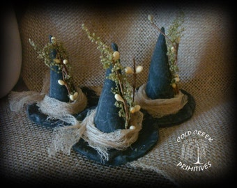 3 Primitive Witch Hat Ornies/ Bowl Fillers/Tucks