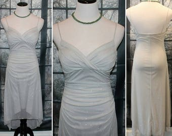 90's Vintage Silver Sparkle Bias Cut Dress By Trixxi,Evening Dress,Cocktail Dress,Dinner Dress,Summer Dress,Boho Dress,Retro Dress,Mod Dress