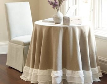 100% Linen  Tablecloth,ruffled shabby chic  table skirt,Designer tablecloth