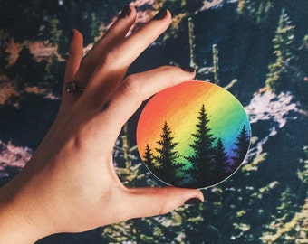 Rainbow Pine Vinyl Sticker