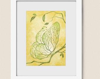5 x 7 Yellow Green Wall Decor Butterfly Art, Tree Branch Art, Butterfly Wall Art, Dining Room Decor, Bedroom Art  (204)