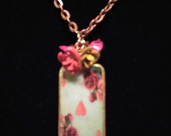 Victorian rose card necklace