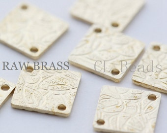 40 Pieces Raw Brass Textured Links - Square 8mm (1757C-T-153)