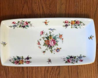 Minton Marlow Large Sandwich Floral Print with Multicolored Bouqets Throughout Tray 11 inches  Long Wreath Backstamp Mint Condition MidMod