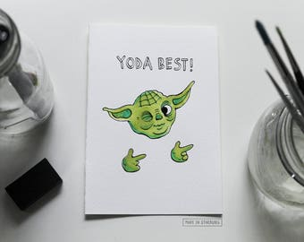 Greeting Card - Yoda Best / Puns + Star-Wars Inspired