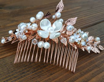 GARDENIA | Handmade Laurel Leaf Rose Gold Bridal Hair Comb with Pearl and Swarovski Crystals - Free Shipping