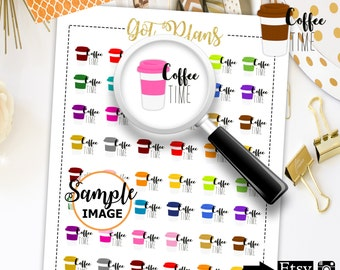 Coffee Planner Stickers, Coffee Stickers, Planner Printables, Printable Planner Stickers, Planner Decor, Stickers For Planner