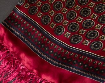 100% Silk Satin Luxury Lined Vintage Mens Scarf with Classic Ornamental Print | Geometric Pattern Silk Vintage Scarf