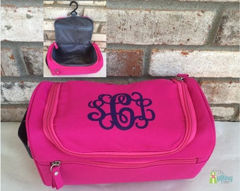 Monogrammed Cosmetic Bag, Hanging Travel Bag, Make-Up Bag, Zippered Toiletry Bag, Monogram Cosmetic Tote, Personalized Travel Accessory
