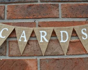 Cards Banner , Wedding Banner , Gift Cards Sign , Burlap Banner