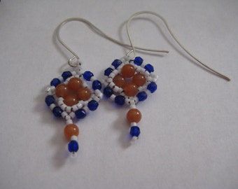 Carnelian Diamond Earrings with Delicas and Fire Polished Beads Designed by ME