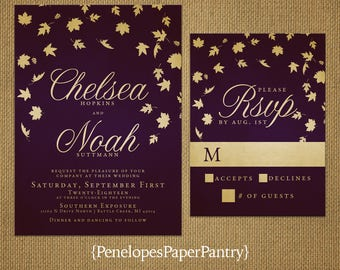 Elegant Plum Fall Wedding Invitation,Plum and Gold,Falling Leaves,Oak Leaves,Calligraphy,Shimmery,Romantic,Printed Invitation,Wedding Set