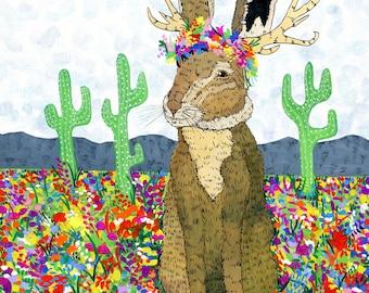 Springtime Jackalope: 8.5x11 inch Mixed Media Illustration Art Print