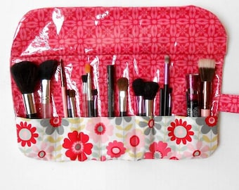 Pink Floral Makeup Brush Roll, Travel Brush Carrier With 7 Pockets, Cosmetic Holder, Gift For Her, Travel Makeup Case, Fabric Brush Storage