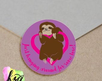 Adorable Sloth Valentine Sticker