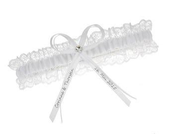 White lace garter - customised bridal garter