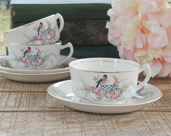 Homer Laughlin Robin and Pink Roses Tea Cup Set Ca. 1920s Cottage Style Farmhouse