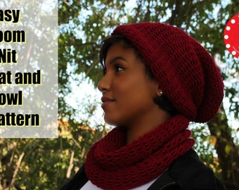 Loom Knitting PATTERNS Hat Slouchy and Cowl Men or Women. Includes Video Tutorial. For Large or Extra Large Round Knitting Looms | Loomahat