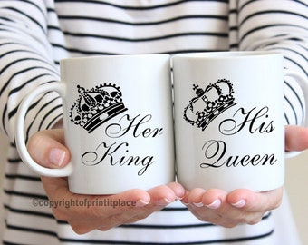 King and queen his and her mug set Valentine's Day gift idea