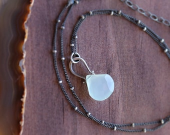 Seafoam Chalcedony Metalsmith Necklace.  Sterling Silver Pinned Gemstone Necklace. Gemstone Pendant Necklace