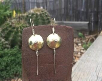 Silver Earrings, Copper Earrings, Brass Earrings, Dangle Earrings, Mixed Metal Earrings, Round Earrings