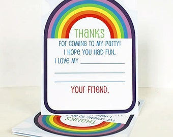 Rainbow Party Thank Yous