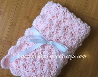 Crochet baby blanket- baby blanket- baby girl blanket- receiving blanket- stroller blanket-stroller-pink travel