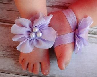 Lavender Baby Barefoot Sandals - Newborn Baby Barefoot Sandals - Newborn Clothing  - Baby Clothing Photography Prop