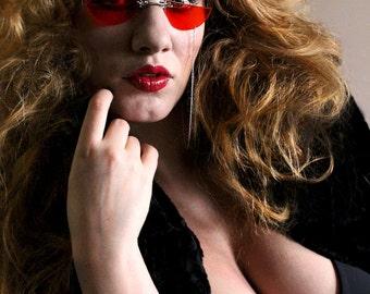 Gothic Sunglasses , Red Sunglasses , Gothic Valentine , Costume Sunglasses , Goth