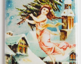 Angel with Christmas Tree Fridge Magnet