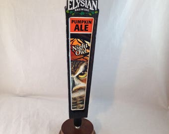 Tap Handle for Elysian Brewing Night Owl Pumpkin Ale 11 Inch Wood   01561
