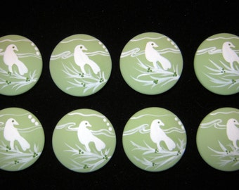 Pastel Green and White BIRD Silhouettes - Hand Painted Wooden Knobs - Set of 8 - Great for Little Girl's Room, Nursery or Office